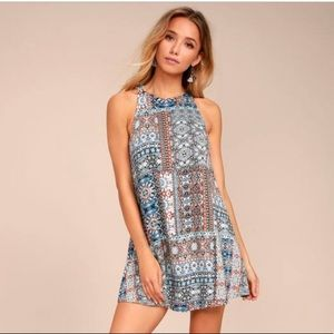 Design Major Grey Print Swing Dress